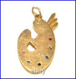 Vintage 14k Yellow Gold Artist Palette Charm 6 Colored Stones & 3 Paint Brushes