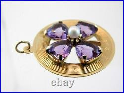 Vintage 14k Yellow Gold Lucky 4 Leaf Clover and Amethyst Disc Charm or Pendant
