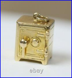 Vintage 14k Yellow Gold Mechanical Moveable Miniature Safe Charm Dollar