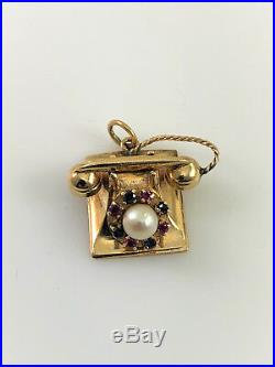 Vintage 14k Yellow Gold, Movable Rotary Dial Telephone Charm