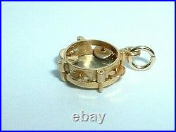 Vintage 14k Yellow & White Gold 3d Moveable Musical Tambourine Percussion Charm