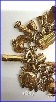 Vintage 9ct Gold Charm Bracelet with 31 Rare Charms 110662