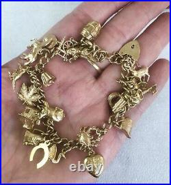 Vintage 9ct Yellow Gold Charm Bracelet With 24 Charms Item B0648
