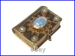 Vintage Book / Pill Box Opal Pearl 18k Yellow Gold Charm Or Pendant
