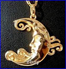 Vintage French' Moon Face' Charm / Pendant, Gold 18k, 90s, 4.8 Gr