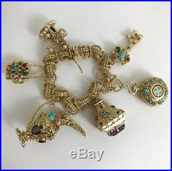 Vintage Gemstone Charm Bracelet in 14K Yellow Gold, 8 Inches, 105 Grams