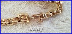 Vintage Heavy Thick 14k Solid Yellow Gold Double Link Charm Bracelet 7-1/2 Inch