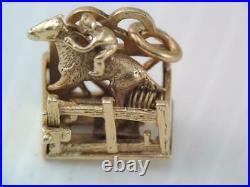 Vintage Movable 14k Solid Gold Horse & Jockey Charm Starting Gate They're Off