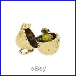 Vintage Opening Easter Egg and Chick Charm In 9ct Yellow Gold