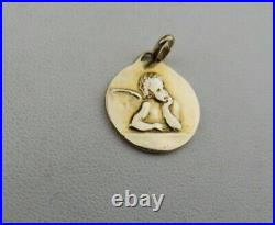 Vintage Tiffany & Co 14k Yellow Gold Guardian Angel Religious Charm Or Pendant